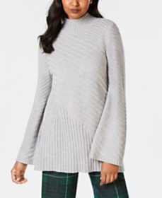 Charter Club Mixed-Stitch Mock-Neck Sweater, Creat