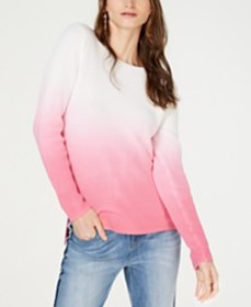 I.N.C. Petite Cotton Dip-Dye Pullover Sweater, Cre