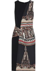 ETRO Paneled ruched printed stretch-jersey dress