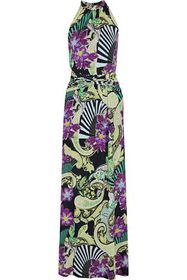 ETRO Ruched printed jersey maxi dress