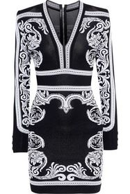 BALMAIN Jacquard-knit mini dress