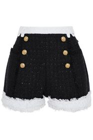 BALMAIN Button-embellished metallic tweed shorts