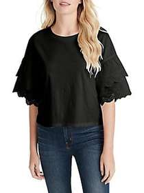 Jessica Simpson Rina Woven Cotton Top BLACK