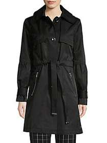 Karl Lagerfeld Paris Classic Cotton Blend Trench C