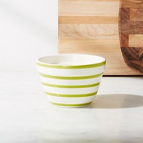 Crate Barrel Avery Green Stripe Mini Mixing Bowl