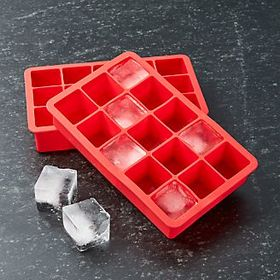 Crate Barrel Red Ice Cube Trays Set of Two