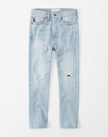 ripped taper jeans, patched light wash