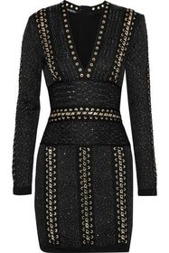 BALMAIN Chain-trimmed sequined stretch-knit mini d
