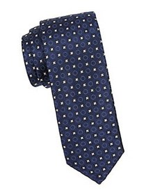 HUGO Dotted Floral Silk Tie NAVY LIGHT PINK
