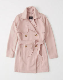 Drapey Trench Coat, LIGHT PINK