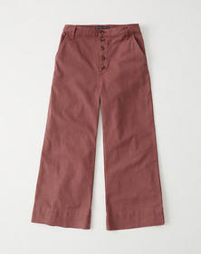 Button-Up Wide-Leg Pants, TERRACOTTA RED