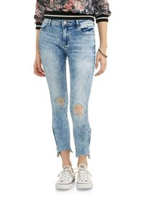 Almost Famous Juniors' Destructed Side Zipper Fray