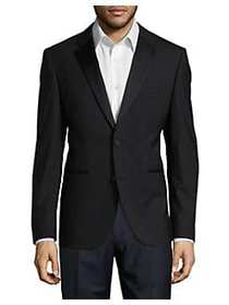 HUGO Satin-Trimmed Wool Suit Jacket BLACK