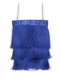 Nina Caracas Long Fringe Bucket Bag COBALT