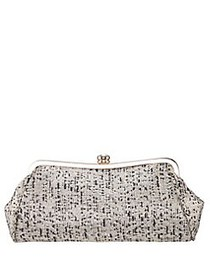 Nina Metallic Tweed Frame Clutch BLACK IVORY