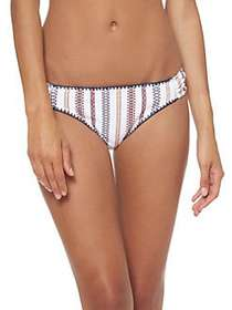 Jessica Simpson Striped Bikini Bottom WHITE MULTI