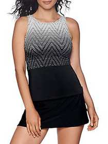 Reebok Essentials Printed Tankini BLACK WHITE