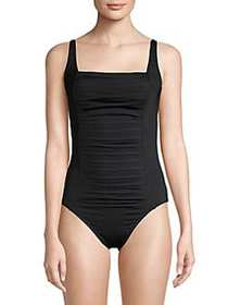 Calvin Klein Pleated One-Piece Swimsuit BLACK
