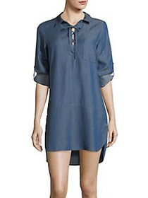 Tommy Bahama Lace-Up High-Low Chambray Boyfriend S