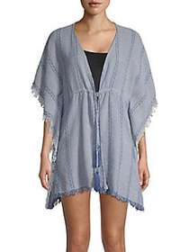 Elan Frayed Tassel Cotton Tunic INDIGO