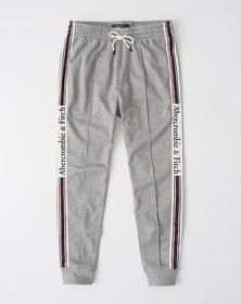 Logo Tape Tricot Joggers, HEATHER GREY