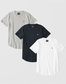 3-Pack Curved Hem Icon Crew Tee, WHITE-GREY-NAVY