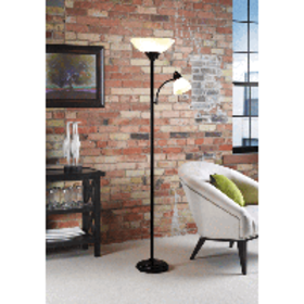 """Home Floor Lamp with Reading Light 71"""", Black"""