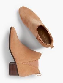 Talbots Dakota Suede Scallop-Edge Ankle Boot