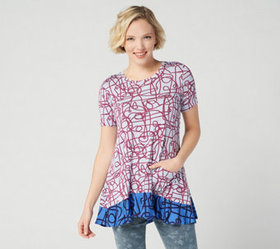 LOGO by Lori Goldstein Printed Knit Top with Contr