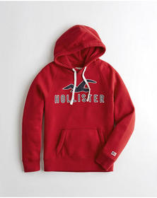 Hollister Logo Graphic Hoodie, RED