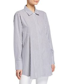 Donna Karan Long-Sleeve Button Stripe Thru Tunic