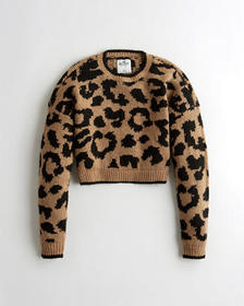 Hollister Crop Leopard Sweater, BROWN LEOPARD