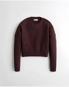 Hollister Shaker-Stitch Crewneck Sweater, PURPLE