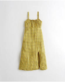 Hollister Midi Babydoll Dress, YELLOW PLAID