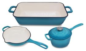 ChefVentions Blue Cast Iron Frying Pan, Baker, or