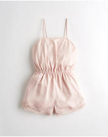 Hollister Lace-Trim Satin Romper, LIGHT PINK