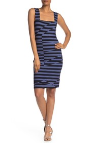 Nicole Miller Striped Lace-Up Back Dress