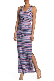Nicole Miller Striped Print Ruched Maxi Dress