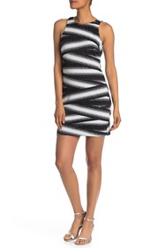 Nicole Miller Zigzag Stripe Fitted Sleeveless Dres
