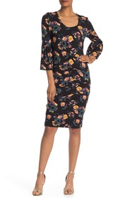 Nicole Miller Floral Print Bell Sleeve Dress