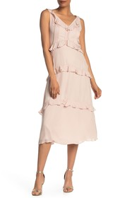 Nicole Miller Pleated Ruffle Trim V-Neck Dress