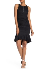Nicole Miller Ruched Ruffle Hi-Lo Dress