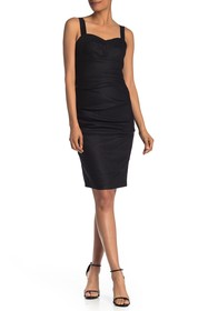 Nicole Miller Sweetheart Tuck Ruched Dress