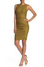 Nicole Miller Criss-Cross Strap Ruched Dress