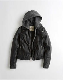 Hollister Hooded Faux Leather Jacket, Black