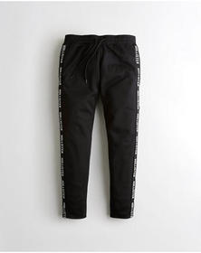 Hollister Taper Tricot Track Pants, BLACK LOGO