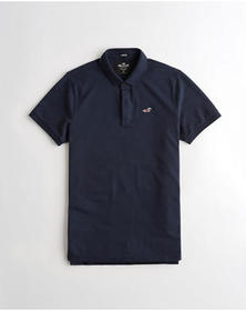 Hollister Stretch Shrunken Collar Slim Fit Polo, N
