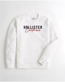 Hollister Embroidered Crewneck Sweatshirt, WHITE