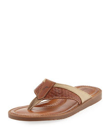 Tommy Bahama Anchors Astern Leather Flat Thong San