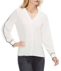 Vince Camuto Contrast Piping V-Neck Blouse